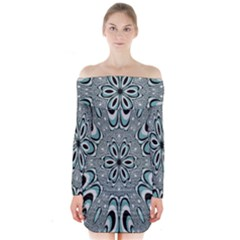 Kaleidoskope Digital Computer Graphic Long Sleeve Off Shoulder Dress