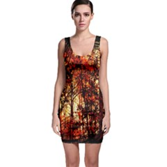 Forest Trees Abstract Sleeveless Bodycon Dress