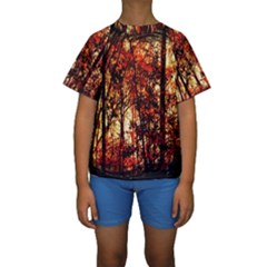 Forest Trees Abstract Kids  Short Sleeve Swimwear