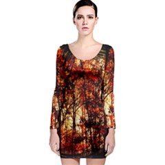 Forest Trees Abstract Long Sleeve Bodycon Dress