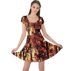 Forest Trees Abstract Cap Sleeve Dresses