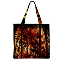 Forest Trees Abstract Zipper Grocery Tote Bag