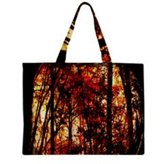 Forest Trees Abstract Zipper Mini Tote Bag