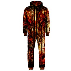 Forest Trees Abstract Hooded Jumpsuit (Men)
