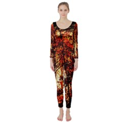 Forest Trees Abstract Long Sleeve Catsuit