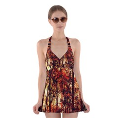 Forest Trees Abstract Halter Swimsuit Dress