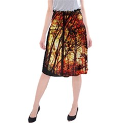 Forest Trees Abstract Midi Beach Skirt