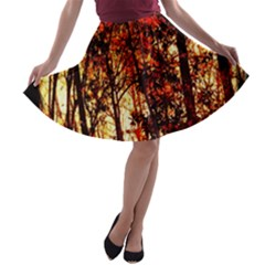 Forest Trees Abstract A-line Skater Skirt