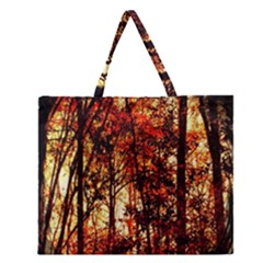 Forest Trees Abstract Zipper Large Tote Bag