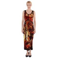 Forest Trees Abstract Fitted Maxi Dress