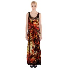Forest Trees Abstract Maxi Thigh Split Dress