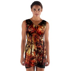 Forest Trees Abstract Wrap Front Bodycon Dress