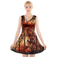 Forest Trees Abstract V Neck Sleeveless Skater Dress