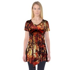 Forest Trees Abstract Short Sleeve Tunic