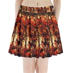 Forest Trees Abstract Pleated Mini Skirt