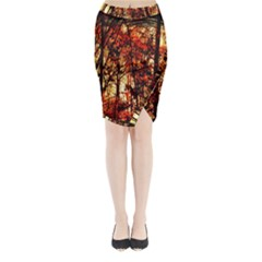 Forest Trees Abstract Midi Wrap Pencil Skirt