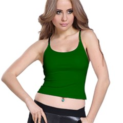 Dark Plain Green Spaghetti Strap Bra Top