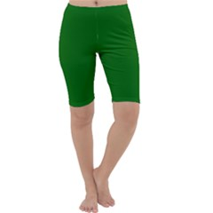 Dark Plain Green Cropped Leggings