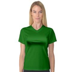 Dark Plain Green Women s V-Neck Sport Mesh Tee