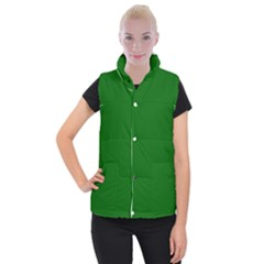 Dark Plain Green Women s Button Up Puffer Vest