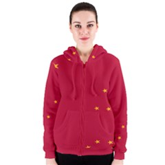 Alaska Star Red Yellow Women s Zipper Hoodie
