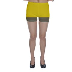 Trolley Yellow Brown Tropical Skinny Shorts