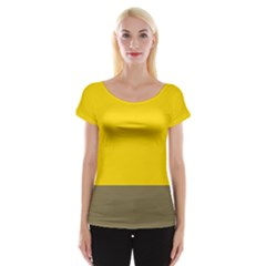 Trolley Yellow Brown Tropical Women s Cap Sleeve Top