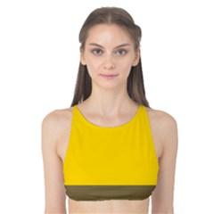 Trolley Yellow Brown Tropical Tank Bikini Top