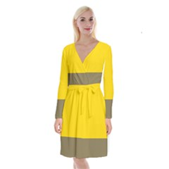 Trolley Yellow Brown Tropical Long Sleeve Velvet Front Wrap Dress