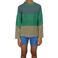 Blue Green Brown Kids  Long Sleeve Swimwear