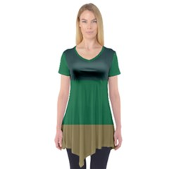 Blue Green Brown Short Sleeve Tunic