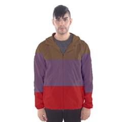 Brown Purple Red Hooded Wind Breaker (Men)
