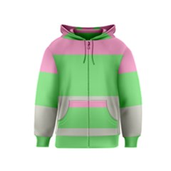 Grey Green Pink Kids  Zipper Hoodie