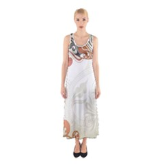 Flower Floral Tree Leaf Sleeveless Maxi Dress