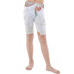 Flower Floral Tree Leaf Kids  Mid Length Swim Shorts