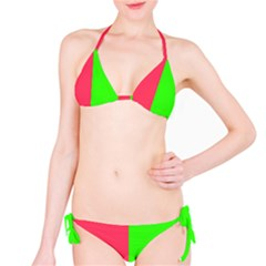 Neon Red Green Bikini Set