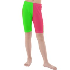 Neon Red Green Kids  Mid Length Swim Shorts