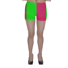 Neon Red Green Skinny Shorts