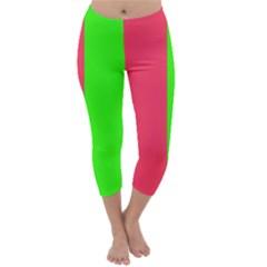 Neon Red Green Capri Winter Leggings