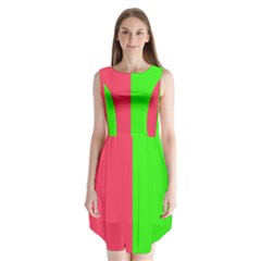 Neon Red Green Sleeveless Chiffon Dress