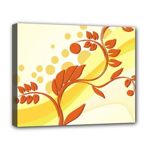 Floral Flower Gold Leaf Orange Circle Deluxe Canvas 20  x 16
