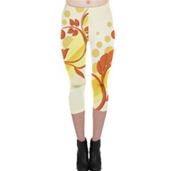 Floral Flower Gold Leaf Orange Circle Capri Leggings