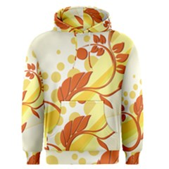 Floral Flower Gold Leaf Orange Circle Men s Pullover Hoodie