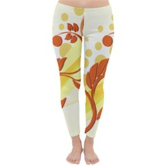 Floral Flower Gold Leaf Orange Circle Classic Winter Leggings
