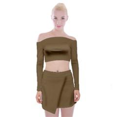 Plain Brown Off Shoulder Top With Skirt Set