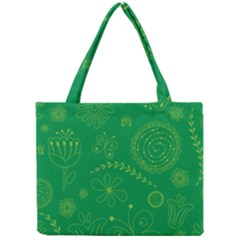 Green Floral Star Butterfly Flower Mini Tote Bag