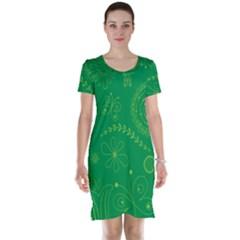 Green Floral Star Butterfly Flower Short Sleeve Nightdress