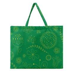 Green Floral Star Butterfly Flower Zipper Large Tote Bag