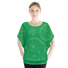 Green Floral Star Butterfly Flower Blouse