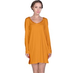Plain Orange Long Sleeve Nightdress